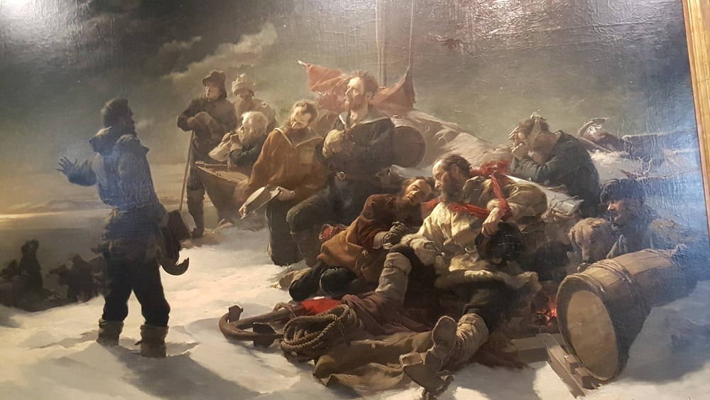 Austrian Polar Expedition led by Carl Weyprecht and Julius Payer. The painting shows the moment where the crew had to abandon their frozen ship - in the background - to get back to main land.